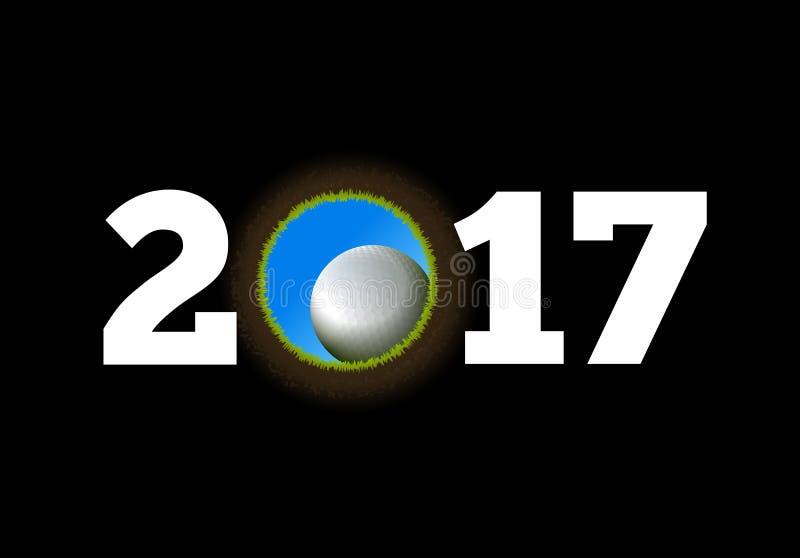 Buon anno sui precedenti di una palla da golf che cade nel foro illustrazione vettoriale