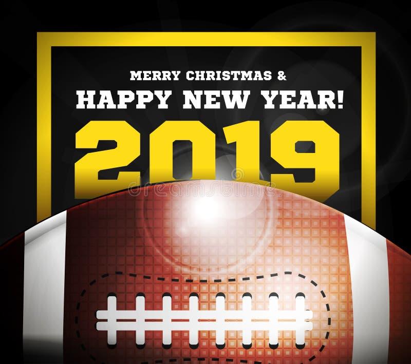 Buon anno 2019 sui precedenti di una palla per football americano Vettore illustrazione di stock