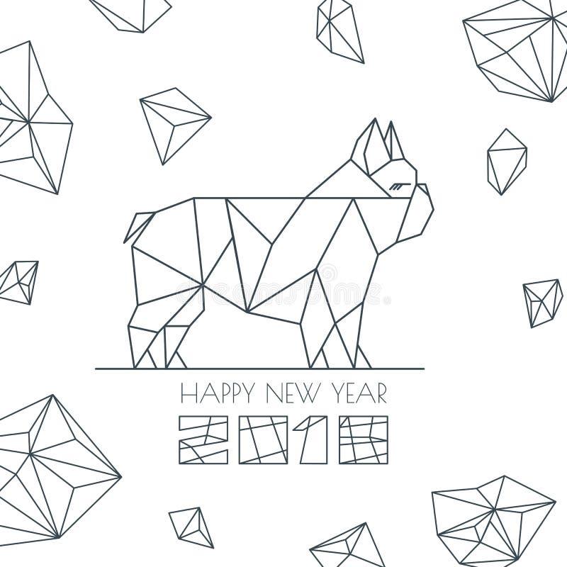 Buon anno 2018 Vector la cartolina d'auguri, il manifesto, insegna con il simbolo moderno del cane geometrico del profilo illustrazione di stock