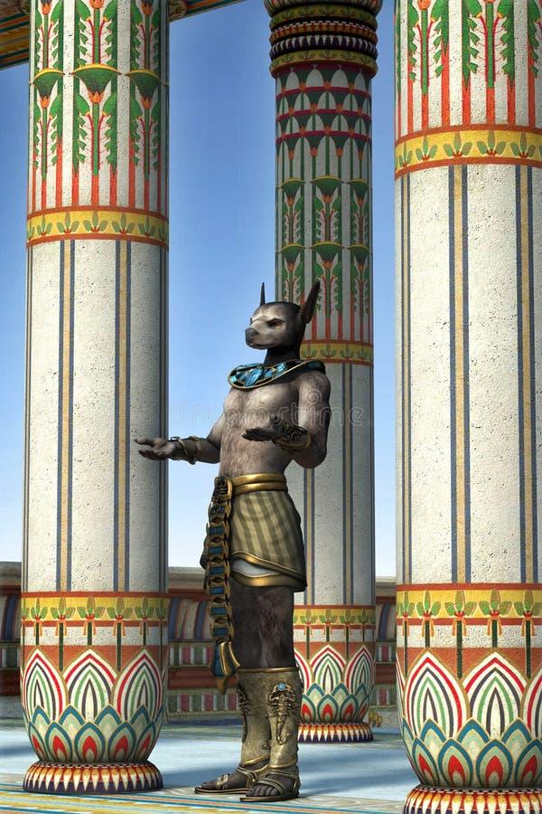 Buon Anubis egiziano al tempio royalty illustrazione gratis