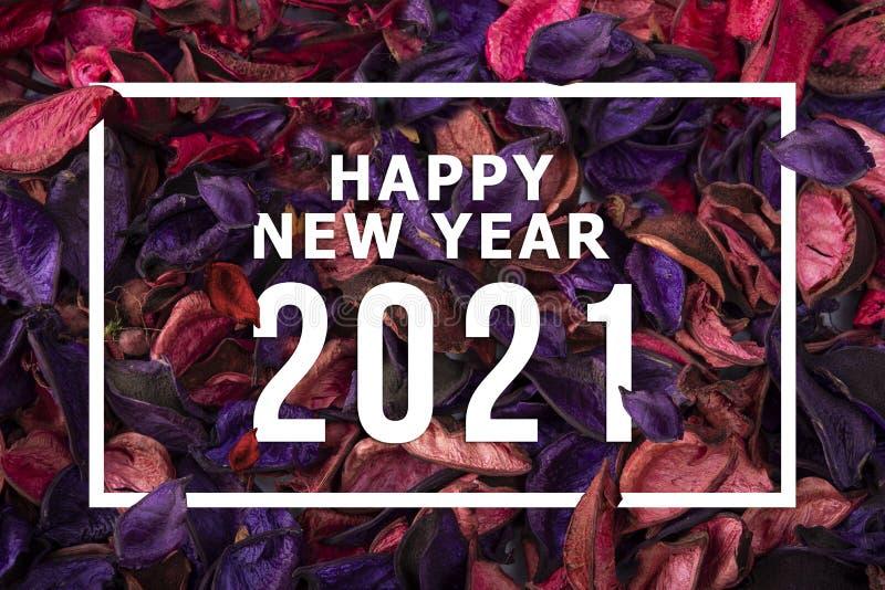 Buon Capodanno 2021: cartolina con decorazioni fotografia stock