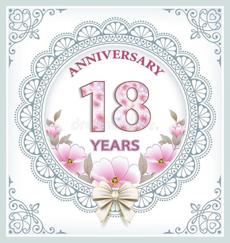 Buon compleanno 18 anni illustrazione vettoriale