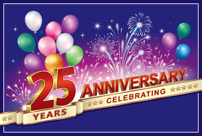 Buon compleanno 25 anni royalty illustrazione gratis