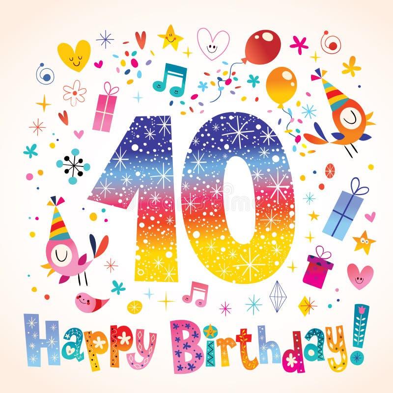 Buon Compleanno 10 Anni Illustrazione Vettoriale