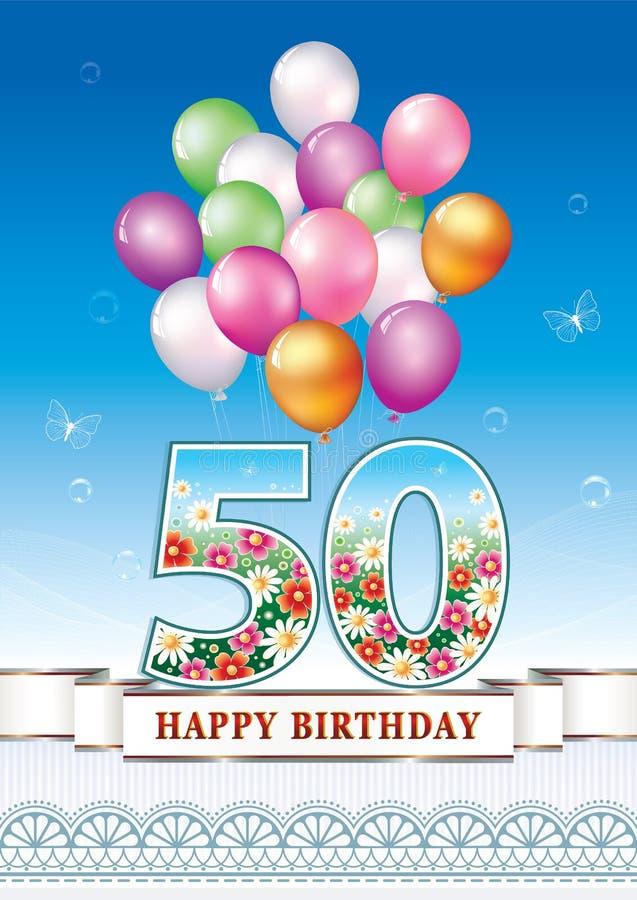 Popolare Buon compleanno 50 anni illustrazione vettoriale. Immagine di  TW24