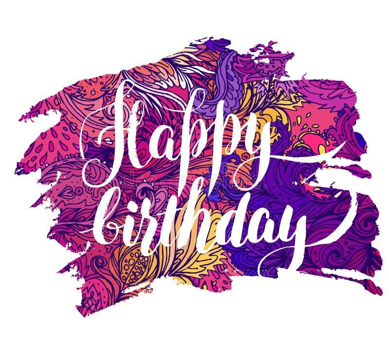 Buon compleanno: Bella cartolina d'auguri Illustrazione luminosa, Ca illustrazione di stock