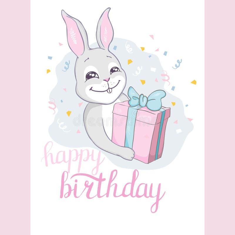 Buon compleanno! Carta con il coniglietto della mongolfiera di volo, stile di contorno illustrazione di stock