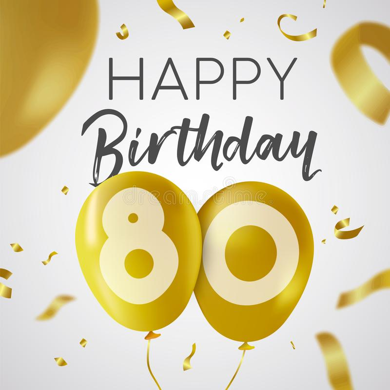 Buon compleanno 80 carta del pallone dell'oro da ottanta anni illustrazione vettoriale