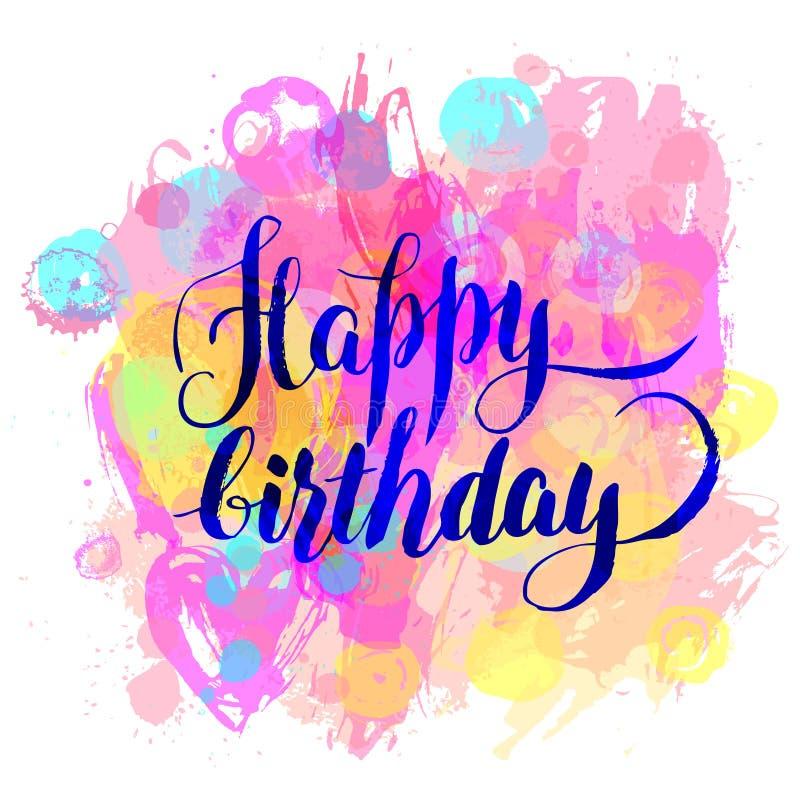 Buon compleanno! Cartolina d'auguri dell'acquerello Illustrazione i di vettore royalty illustrazione gratis