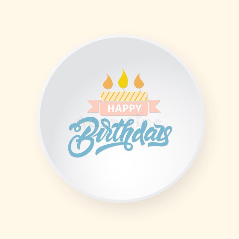 Buon compleanno che segna sull'etichetta realistica di vettore Iscrizione per la vostra progettazione royalty illustrazione gratis