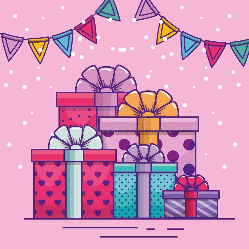 Buon compleanno con i presente e la decorazione dell'insegna del partito illustrazione vettoriale
