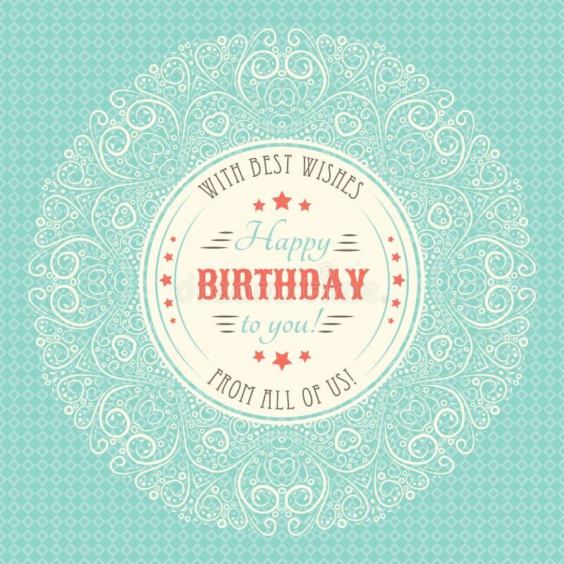 Buon compleanno d'annata Card Lettere di tipografia royalty illustrazione gratis