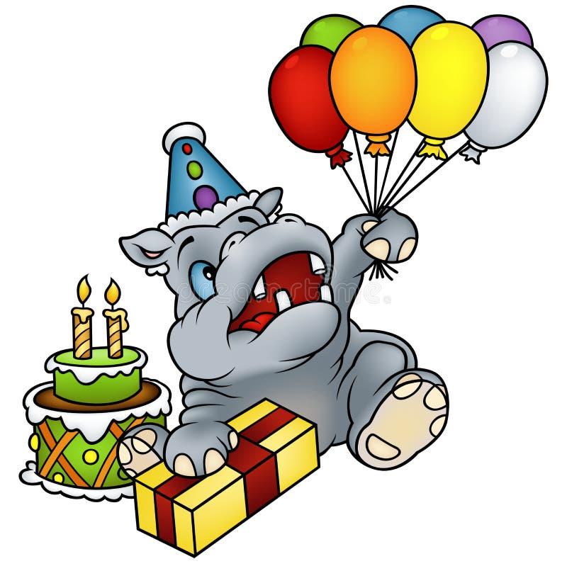 Buon compleanno dell'ippopotamo illustrazione di stock