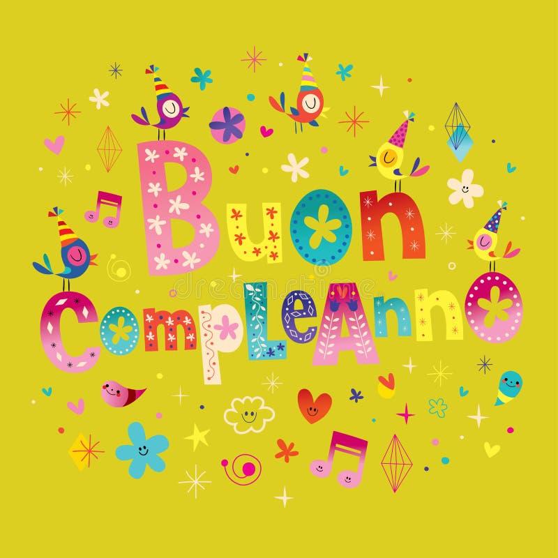 Buon Compleanno Happy Birthday In Italian Stock Vector