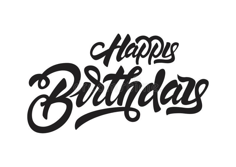 Buon compleanno Illustrazione d'iscrizione nera Progettazione disegnata a mano della stampa della maglietta dell'invito Iscrizion illustrazione di stock
