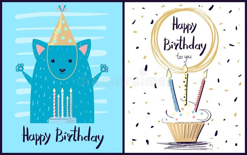 Buon compleanno illustrazione di vettore della cartolina illustrazione vettoriale