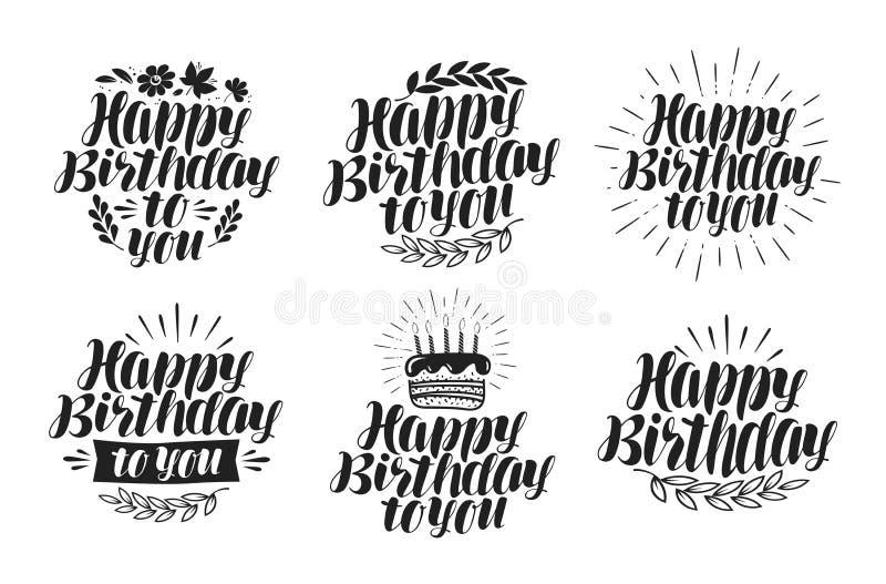 Buon compleanno, insieme di etichetta Festa, icona di giorno di nascita Iscrizione, illustrazione di vettore di calligrafia royalty illustrazione gratis