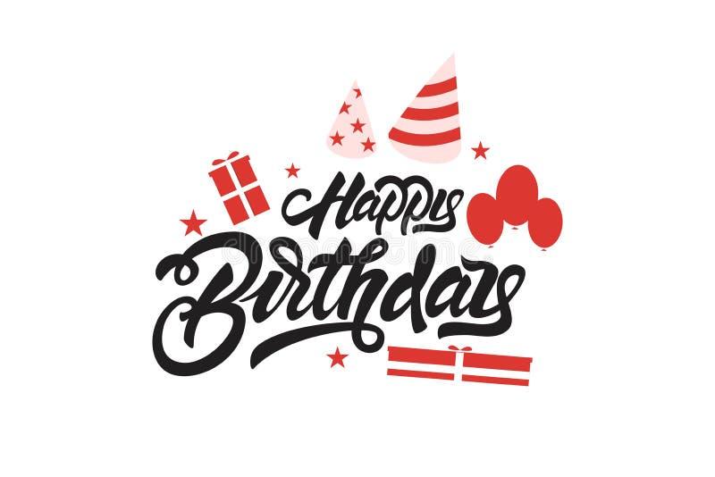 Buon compleanno Iscrizione dell'illustrazione con lettere con i palloni ed i regali Progettazione disegnata a mano della stampa d illustrazione di stock