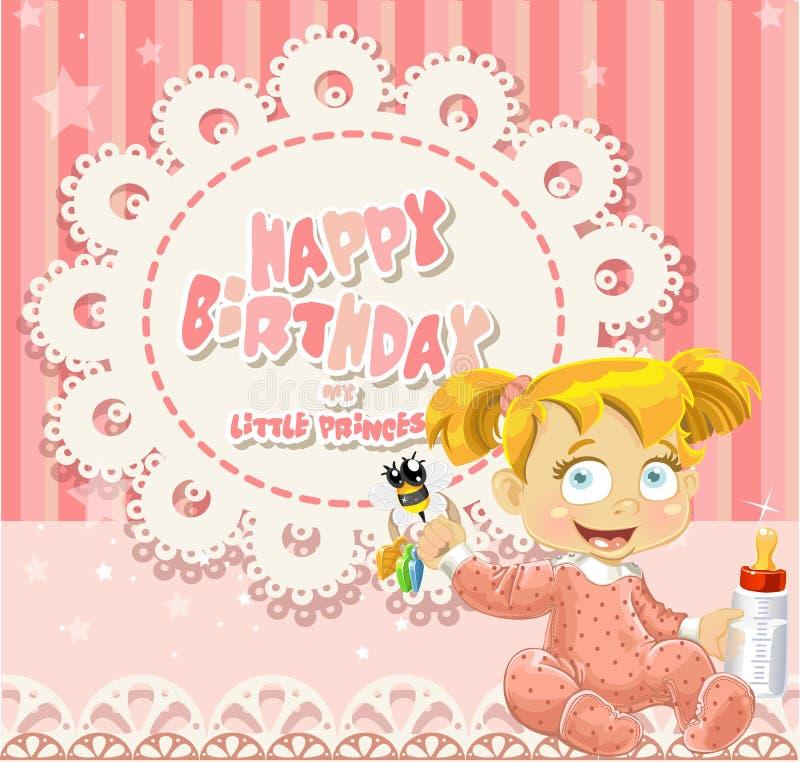 Buon compleanno la mia piccola principessa - neonata illustrazione vettoriale