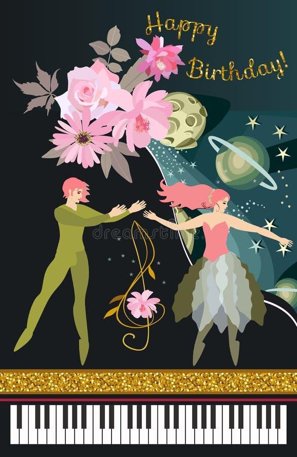Buon compleanno musicale della cartolina d'auguri Pianoforte a coda nero di concerto, ballerini di balletto, chiave tripla nella  illustrazione vettoriale