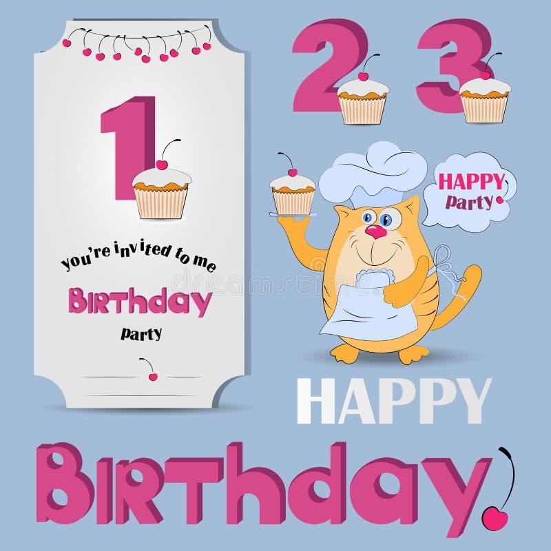 Buon compleanno Numeri di anniversario illustrazione di stock
