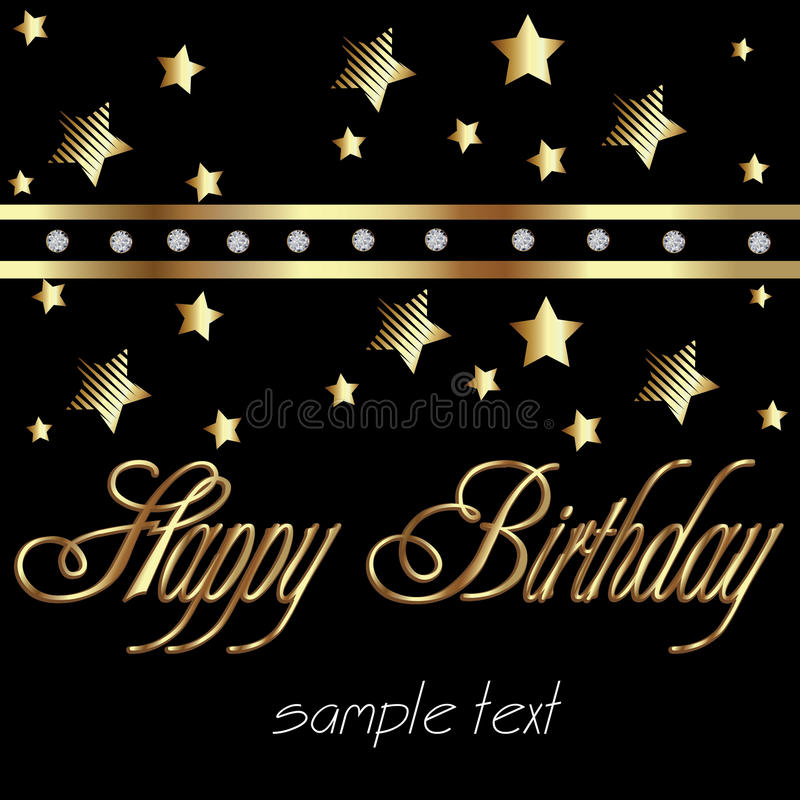 Buon compleanno in oro illustrazione vettoriale