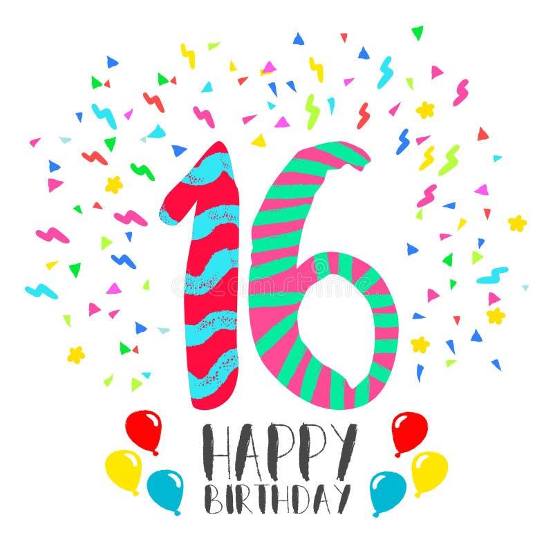Buon compleanno per la carta dell'invito del partito da 16 anni royalty illustrazione gratis