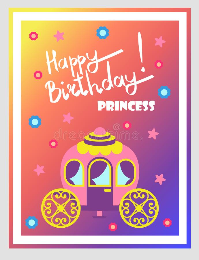 Buon compleanno, principessa Cute Multicolored Poster illustrazione vettoriale