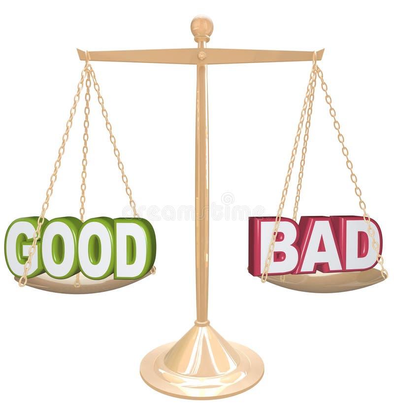 Buon contro le cattive parole sulla scala che pesa i positivi contro le negazioni illustrazione di stock