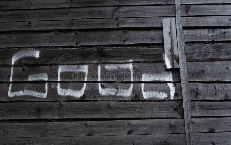 """Buon della parola """"scritto in gesso sui bordi di legno immagini stock libere da diritti"""