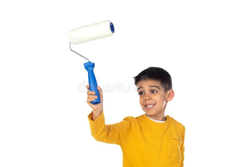 Buon dipinto per bambini con un rullo fotografia stock libera da diritti