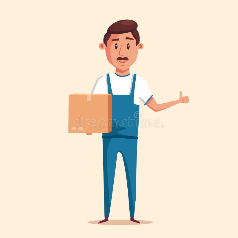 Buon lavoratore in uniforme Illustrazione di vettore del fumetto rilocazione illustrazione vettoriale