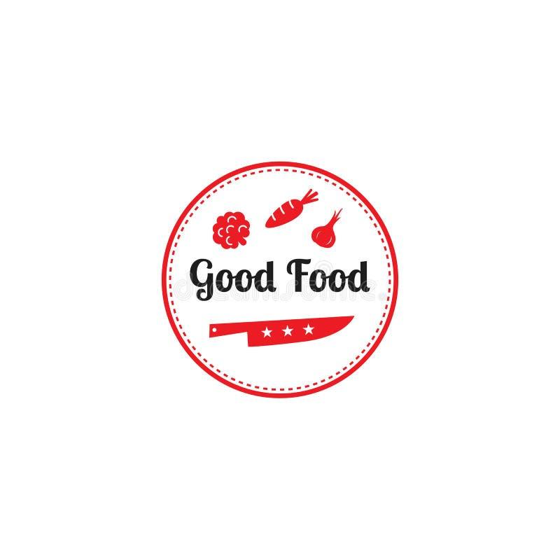 Buon modello di progettazione di logo dell'alimento Simbolo grafico dell'icona delle verdure e del coltello per il caffè, ristora royalty illustrazione gratis