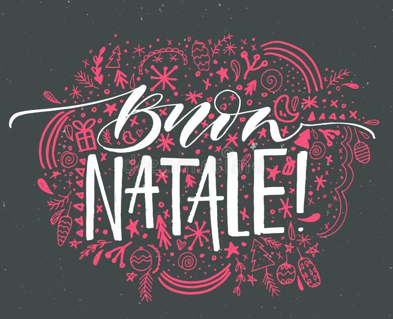 Buon Natale, итальянский с Рождеством Христовым текст Vector поздравительная открытка с нарисованным рукой орнаментом элементов в иллюстрация штока
