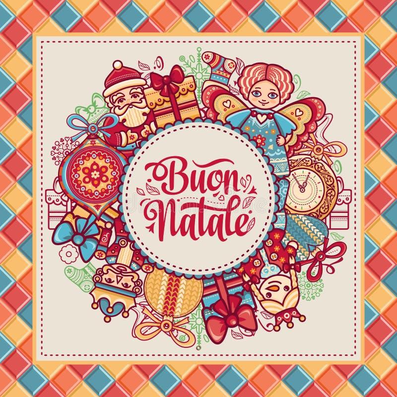 Buon Natale карточка 2007 приветствуя счастливое Новый Год Шаблон рождества Зимний отдых в Италии Поздравление на итальянке сбор  иллюстрация вектора