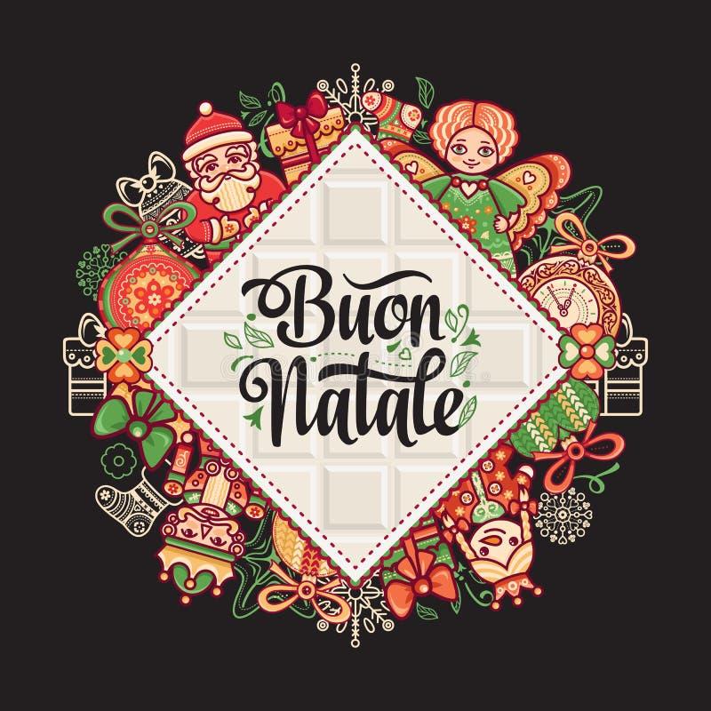 Buon Natale 2007个看板卡招呼的新年好 您的文本的空间 寒假在意大利 意大利语的祝贺 例证百合红色样式葡萄酒 库存例证