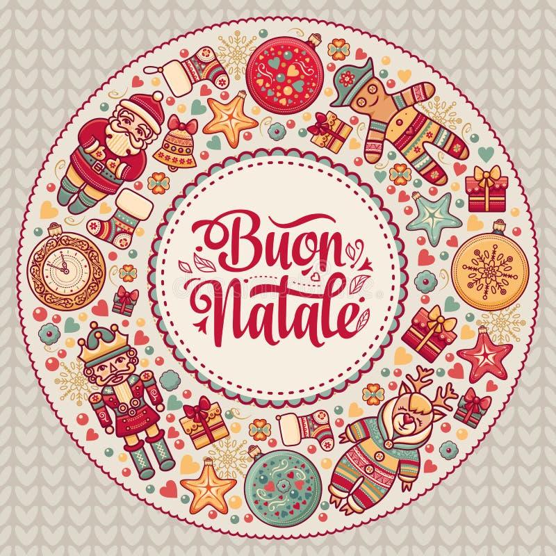 Buon Natale 2007个看板卡招呼的新年好 您的文本的空间 寒假在意大利 意大利语的祝贺 例证百合红色样式葡萄酒 向量例证