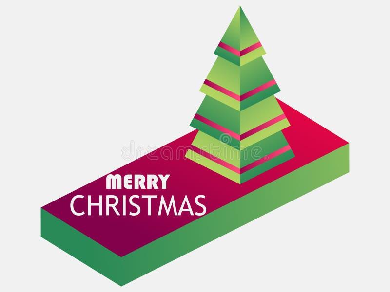 Buon Natale Albero di Natale isometrico, pendenza dell'icona 3d Vettore illustrazione vettoriale