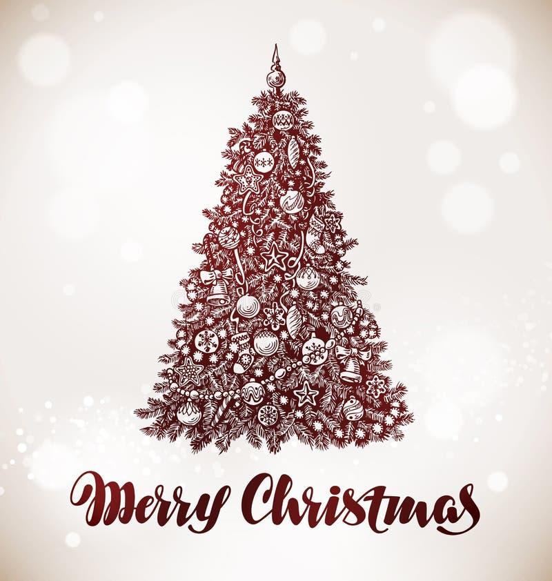 Buon Natale Albero di natale con le decorazioni Illustrazione di vettore illustrazione di stock