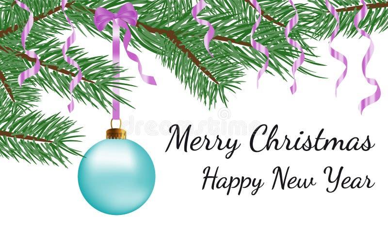 Buon Natale buon anno, progettazione della cartolina d'auguri con la palla di vetro blu realistica di natale di vettore con il ra illustrazione vettoriale