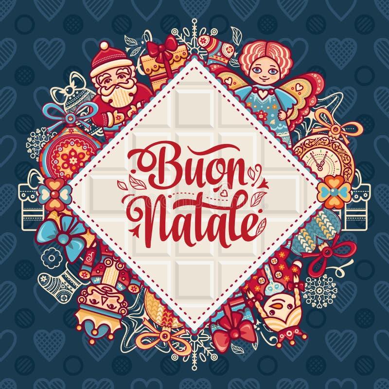 Buon Natale Bożenarodzeniowy szablon ilustracja wektor