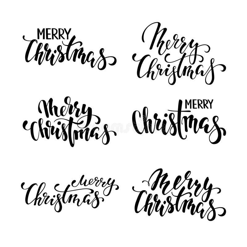 Buon Natale Calligrafia creativa disegnata a mano, iscrizione della penna della spazzola progetti le cartoline d'auguri di festa  illustrazione di stock