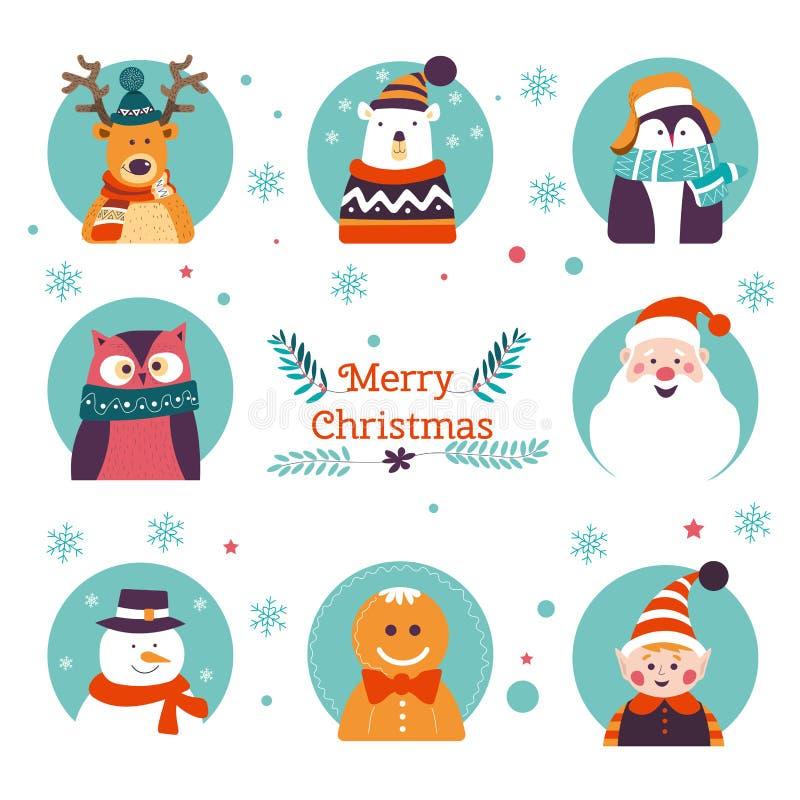 Buon Natale, caratteri tradizionali di vacanza invernale nei telai illustrazione vettoriale