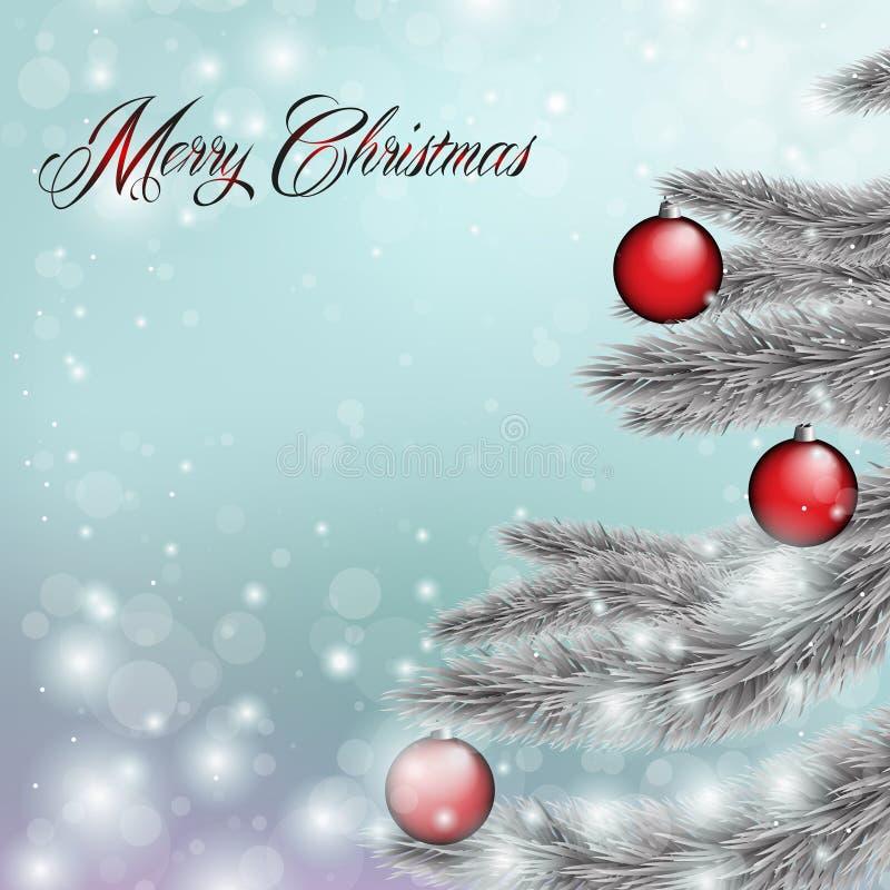 Buon Natale, carda l'azzurro illustrazione vettoriale