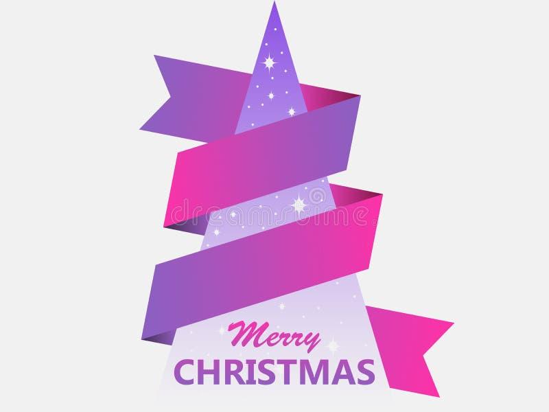 Buon Natale Cartolina d'auguri con l'albero di Natale ed il nastro geometrici creativi Vettore royalty illustrazione gratis