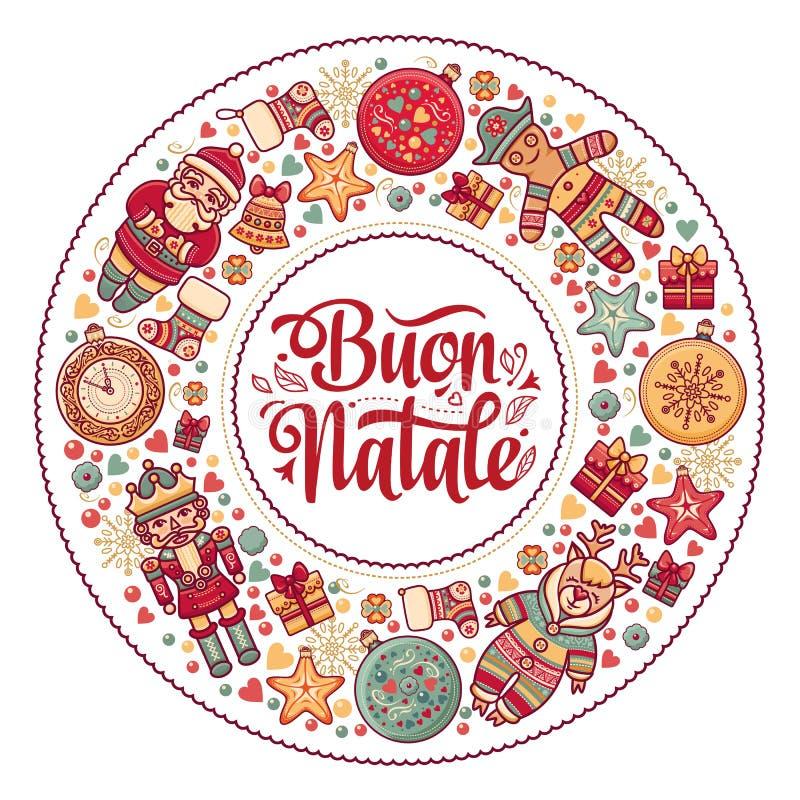 Buon Natale Cartolina d'auguri Modello di Natale Vacanza invernale in Italia Congratulazione su italiano Stile dell'annata illustrazione di stock