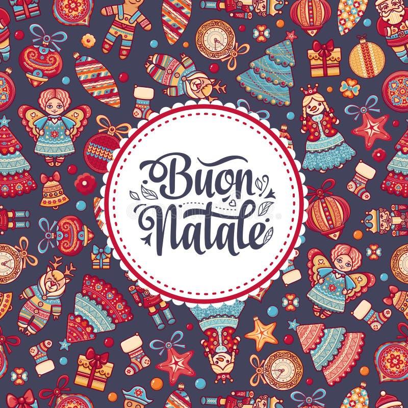Buon Natale Cartolina d'auguri Modello di Natale Vacanza invernale in Italia Congratulazione su italiano Stile dell'annata illustrazione vettoriale