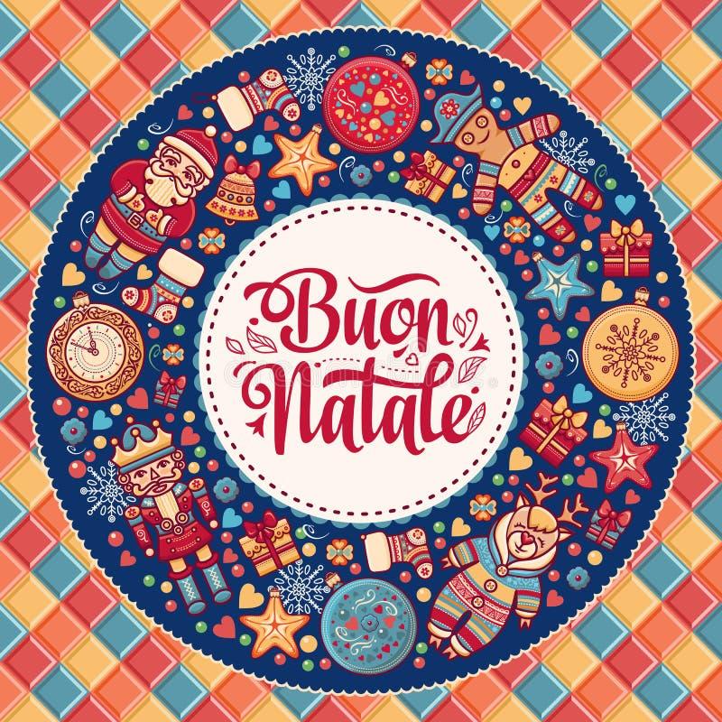 Buon Natale Cartolina d'auguri Modello di Natale Vacanza invernale in Italia Congratulazione su italiano Stile dell'annata royalty illustrazione gratis