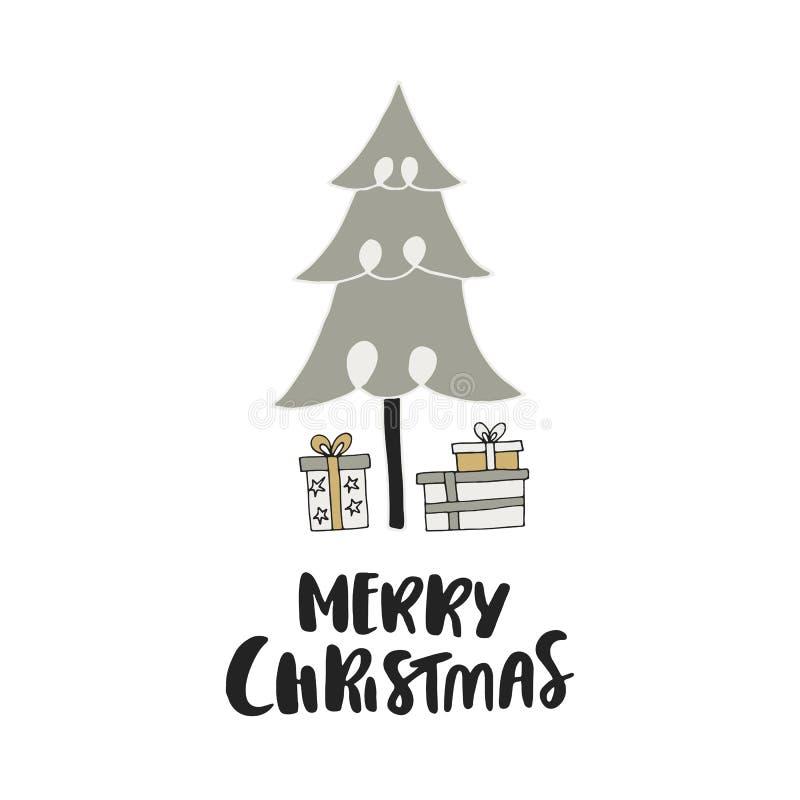 Buon Natale - cartolina di Natale disegnata a mano unica con iscrizione, i contenitori di regalo e l'albero del nuovo anno E illustrazione di stock