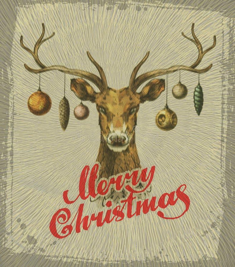 Buon Natale Cartolina di Natale dell'annata Cervi royalty illustrazione gratis